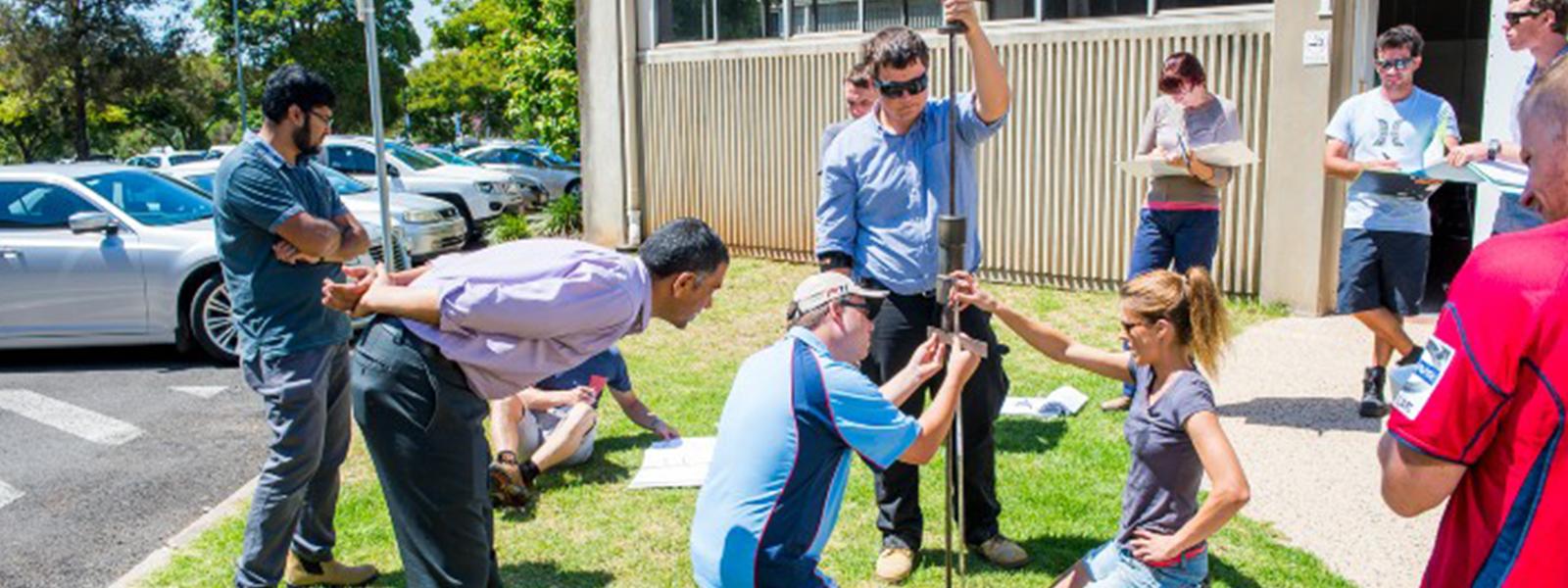 Students doing residential school activities