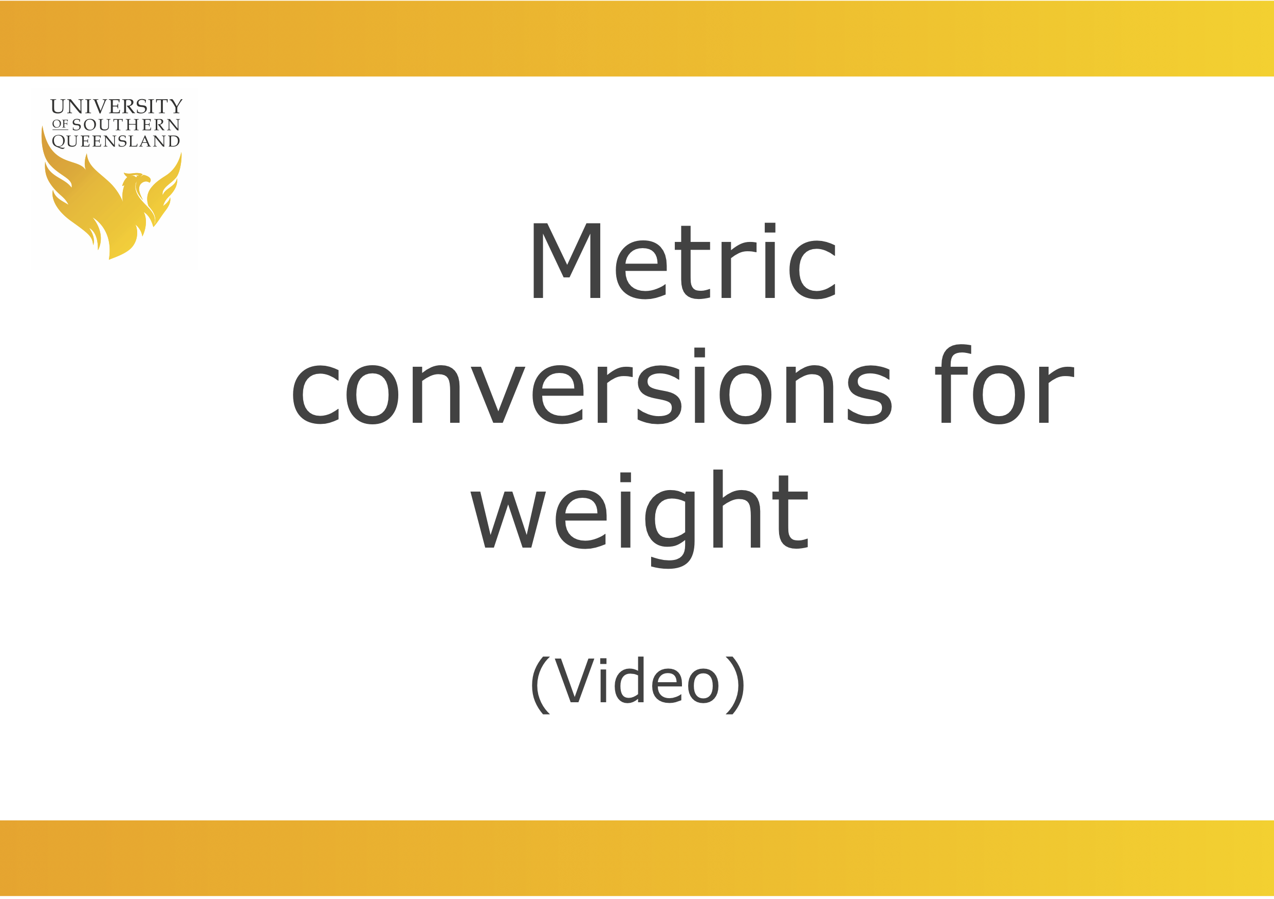 Metric conversions for weight