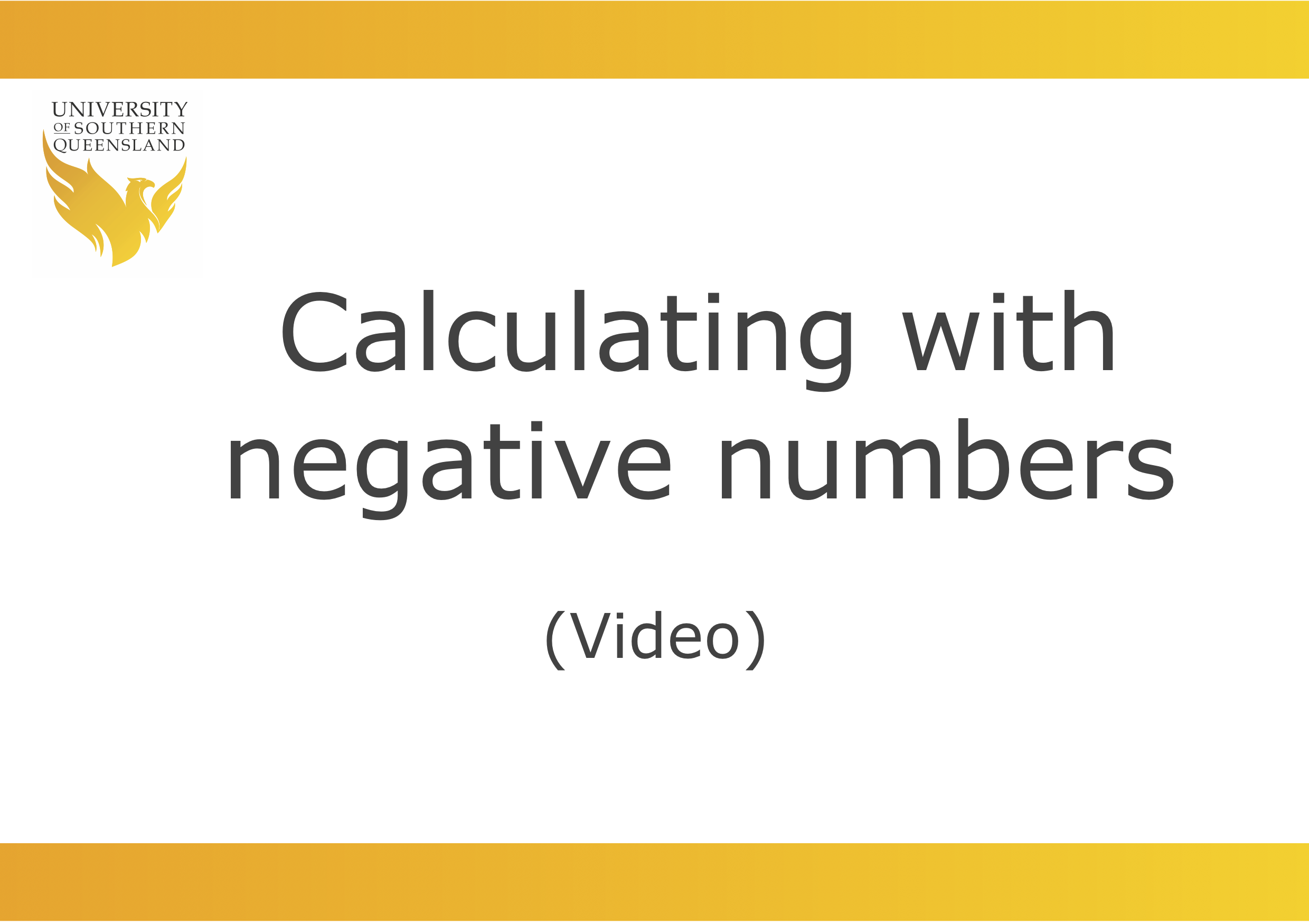 Video link for Calculating with negative numbers.