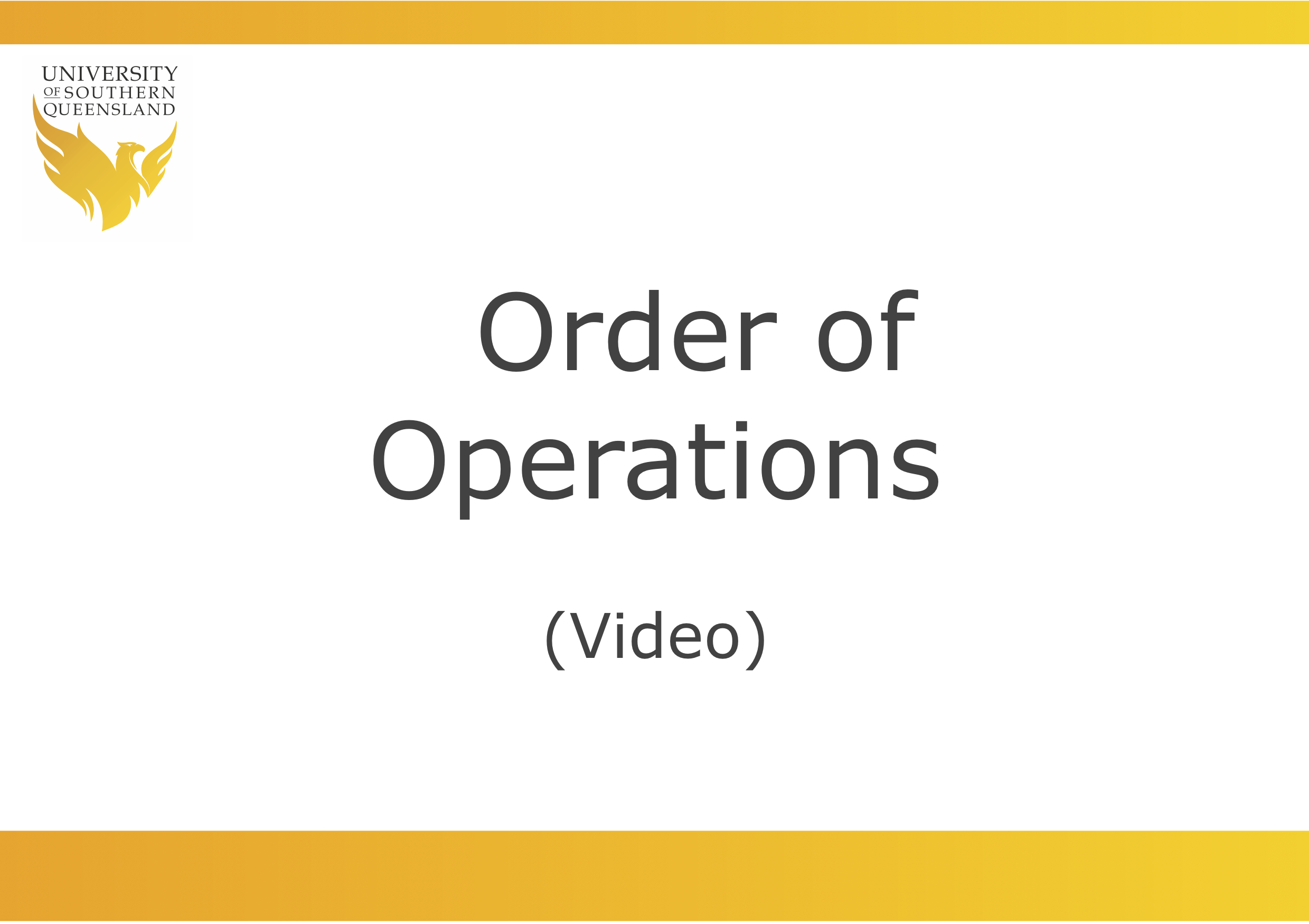 Order of operations link to video