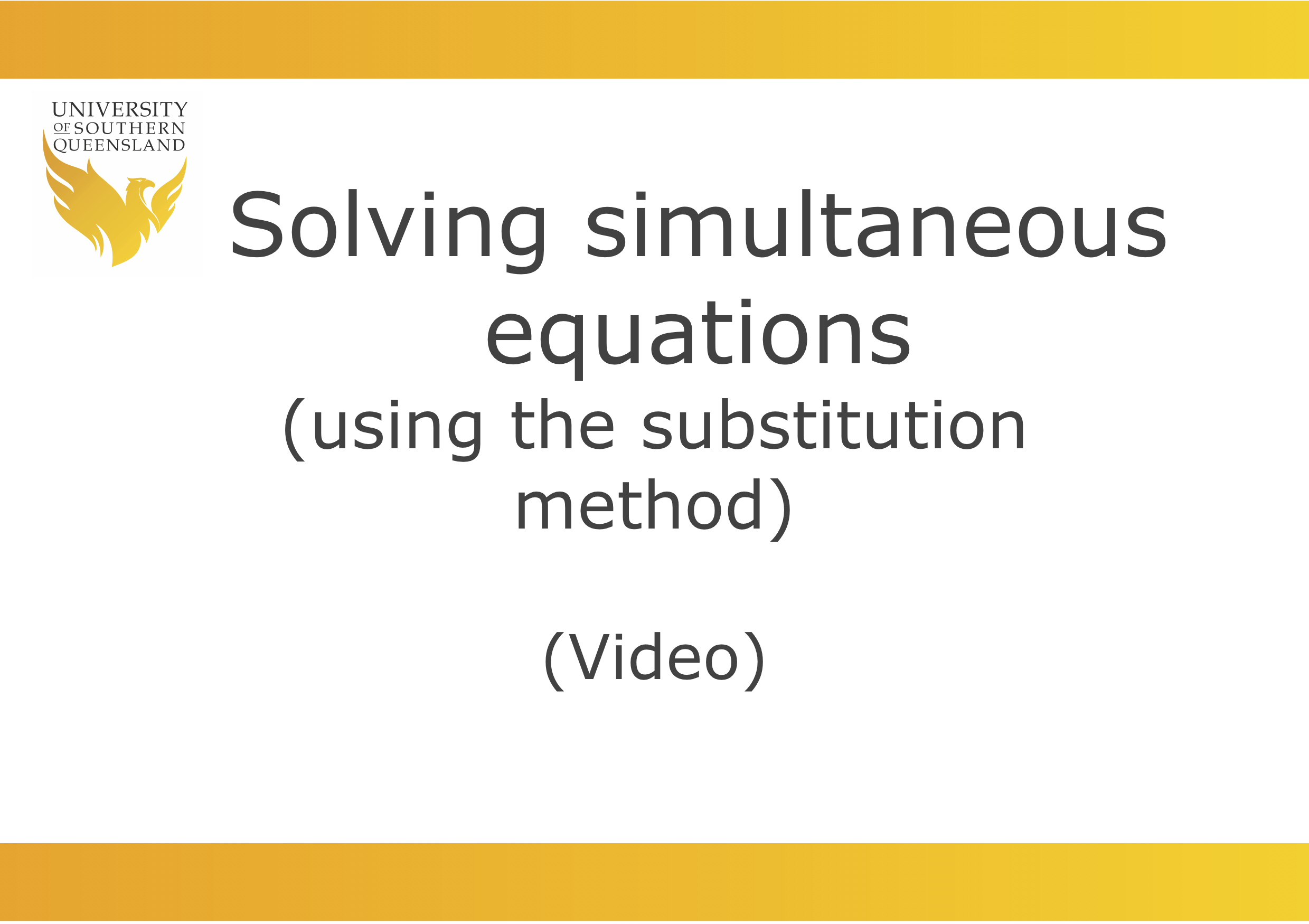 Solving simultaneous equations (using the substitution method)
